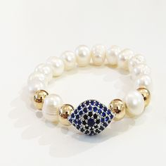 Bracelets By Vila Veloni White Pearls With Blue King Zirconia