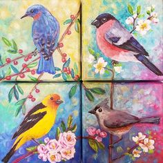 Songbird Quartet! Acrylic Painting Tutorials LIVE on YouTube by Angela Anderson #fredrixcanvas #princetonbrushes #goldenacrylics #bullfinch #bluebird #songbirdseries #westerntanager #tuftedtitmouse #tinytuesday