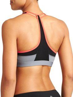 e943180c75 Athleta Womens Push The Limit Bra - Cobblestone grey ember orange The  compressive sport bra with a cutout mesh racerback design that offers medium  support ...