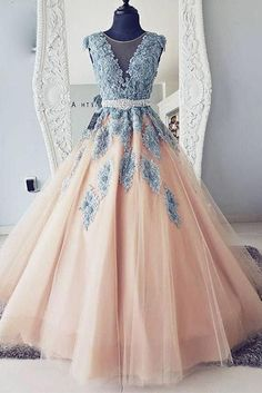 Champagne round neck tulle lace long prom dress, tulle evening dress, tulle lace Elegant prom dresses 2019 formal dresses for teens v neck tulle long 2019 evening dresses party gowns Lace Ball Gowns, Lace Party Dresses, Pink Prom Dresses, Tulle Prom Dress, Quinceanera Dresses, Ball Dresses, Cute Dresses, Awesome Dresses, Dresses Dresses