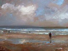 "Ölbild ""At the sea"" 18x24cm oil on canvas panel"