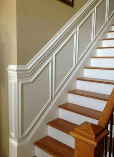 50 S Stairs Makeover ideas Makeover Stairs Stairways Wainscoting House Design, Hallway Decorating, Foyer Decorating, Wainscoting, Moldings And Trim, Stairway Wainscoting, Staircase Makeover, Stairs Design, Stairs