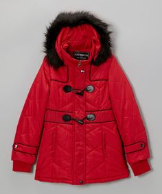 This Poppy Toggle Faux Fur Coat - Girls by Fleet Street is perfect! #zulilyfinds