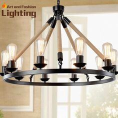 American country iron lamp Vintage chandelier with 10 lights