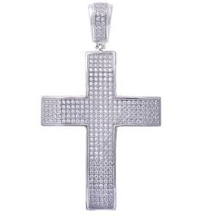 1CT HIGH FASHION CZ CROSS .925 Sterling Silver Pendant 1.5/""
