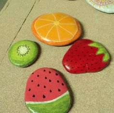 painted rocks - kiwi, orange, strawberry, watermelon