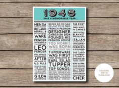 1946 Printable 70th Birthday Newspaper Style by shopmarigoldlane