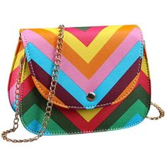 Sandistore Women Shoulder Messenger Fashion Bag Chain Rainbow Stripes (144.125 IDR) ❤ liked on Polyvore featuring bags, purses, bolsas, rainbow, chain bag and messenger bag