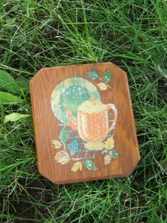 Mid Century Shabby Decal on Wood ~~~ Kitchen Still Life ~~~ Trivet by lookonmytreasures on Etsy