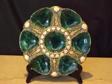 Antique English Minton Staffordshire Majolica Malachite 6 Well Oyster Plate 1323