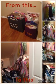 I got tired of having all my gift bags mixed up and in bags taking up floor space in my closet. I relocated them to my under the stairs closet and hung them all up on hooks by size. On the shelf I added decoration kits (bdays, Halloween, baby showers etc) as well as greeting cards, ribbons and tissue paper. All handy and ready to go!