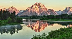 The famous Oxbow Bend reflection in Grand Teton National Park.  © Jeff R. Clow