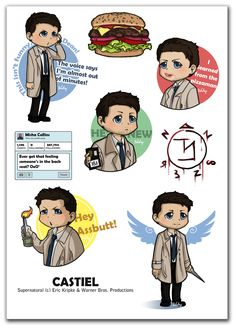 And some perfect Cas moments. (Castiel stickers by ~Poledrey on deviantART) #supernatural