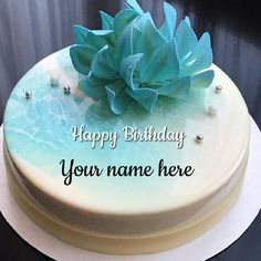 Elegant Mirror Glazed Skyblue Birthday Cake With Name.Make Cake With Name Online.Get Custom Name on Cake For Happy Birthday Wishes.Whatsapp Status of Name Cake