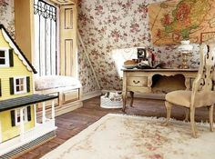 Miniature attic - photo credit @revampminiatures Miniature Rooms, Bridal Suite, Attic, Photo Credit, Shag Rug, Miniatures, Bed, Doll Houses, Furniture