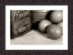 Farmhouse Kitchen Framed Print By Heather Allen vintage sifter, red front cocoa tin, eggs and a hand written recipe card art for the farmhouse kitchen décor-old school country living