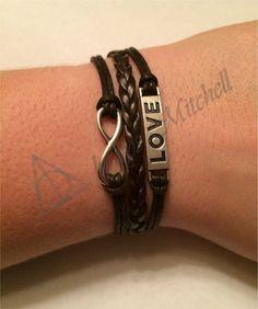 Simple Charm Bracelet! Get one quick! Love, Black, Infinity, Charm, Bracelet! Etsy.com