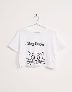 Camiseta BSK manga corta oversize gato - Novedades - Bershka España