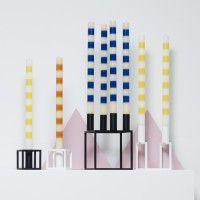 Darkroom ANA Design Corp. Pair of Six Stripe Candles Ivory/Holly_darlroomlondon.com