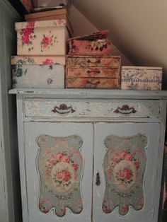 My little cupboard full of vintage supplies :)