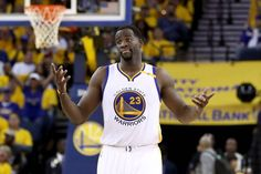 Draymond Green of the Golden State Warriors reacts after a play against the Cleveland Cavaliers in Game 1 of the 2017 NBA Finals at ORACLE Arena on...