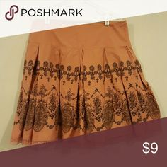 Pink with brown lace design skirt Had to buy a new business casual wardrobe for a 4 month stint, now I need to clean it out. Is a petite size, but i felt it fit like regular. Apt. 9 Skirts A-Line or Full