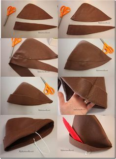 Victoria This would be a good hat for robin hood because it looks easy to make and looks just like the original Robin Hood Kostüm Kind, Peter Pan Hut, Holidays Halloween, Halloween Diy, Disfraz Peter Pan, Diy Costumes, Halloween Costumes, Peter Pan Costumes, Diy Peter Pan Costume
