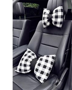 Bow Shaped Car Seat Headrest Pillow - Black and White Check Plaid Pattern