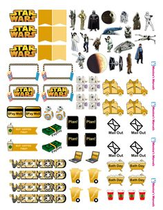 """""""sticker kit"""" Star Wars functional sheet(the happy planner by MAMBI) sticker. Free printable sticker layout may be subject to copyright not intended for retail; personal use only"""