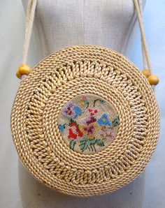 Vintage 70s Round Straw Shoulder Bag with by bigyellowtaxivintage
