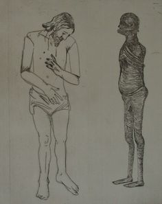 Claudette Schreuders, 'Untitled (Naked Man & Shadow), 2001, Drypoint.