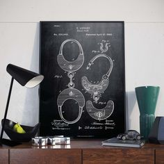Handcuffs Patent Print Gift for Police Office Decor Patent