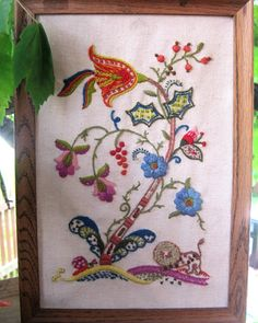 Vintage Embroidery Crewel Wall Hanging, just bought this, love the lion!  Going to change the frame.
