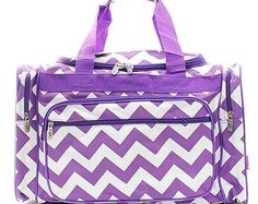 """Personalized Purple Chevron 20"""" Duffel Bag * Back to School Bag * Embroidered Duffle Bags with Monogram or Name Gift"""