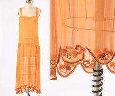1920s dress/ 20s beaded slip/ chiffon by MidnightMart on Etsy, $425.00