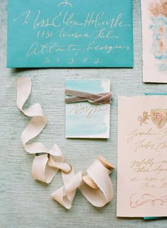 Teal Gold Watercolor Wedding Invitations by http://www.signoramare.com/ | photography by http://buffydekmarblog.com