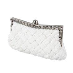 BMC Womens Evening Elegant Jeweled Rhinestone Pleated Cocktail Party Handbag-WHITE