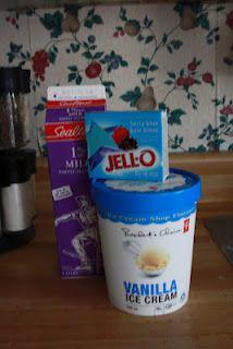 Jello Milkshakes -- Quick & Simple -- 2 cups milk, 1 pint vanilla ice cream, 1 box any flavor Jello mix.  Made pistachio ones for dessert 26 Aug 2012, loveee.