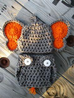 Newborn Boy Elephant Hat Diaper Cover Set Crochet Elephant Outfit Handmade Knit Baby Elephant Costume Newborn Photo Prop Baby Elephant Gift Baby Crochet Baby Boy Outfit Knit Newborn Elephant Costume