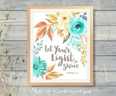 """Printable art Bible verse """"Let Your Light so shine"""", Matthew 5:16, spiritual faith print-it-yourself artwork for home decoration by ArtCult by ArtCult on Etsy"""