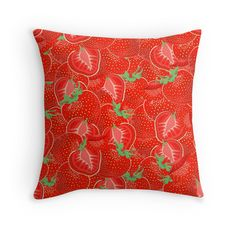 """""""Ripe strawberry seamless pattern."""" Throw Pillows by Maria-So 