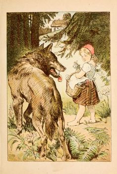 Little Red from Grimm Fairytales in German published 1890  BookReaderImages.php 447×664 pixels