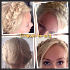 Tutorial crown braid  Just make on both sides of your head, beneath your ears, 1 braid.  And then put them one by one at the top of your head. And pin them!