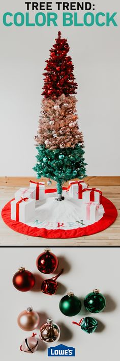 Color blocking ornaments has trended the last couple years, and we're taking that trend a step further with this tree. For this technique we recommend using three to five colors, depending on the size and shape of your tree. #Christmas #lowes
