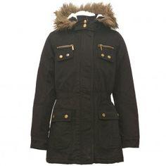 Yoki Big Girls Black Gold Snap Button Zipper Faux Fur Trim Hooded Coat 7-16