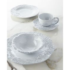 12-Piece Lace Dinnerware Service (€130) ❤ liked on Polyvore featuring home, kitchen & dining, dinnerware, white, earthenware bowl, white salad plates, handmade dinnerware, microwave safe bowl and microwave safe dinnerware