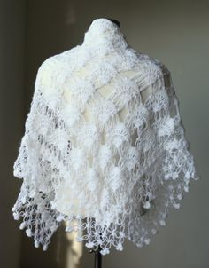 White Crochet Shawl    #crochet #knit #yarn #tatting