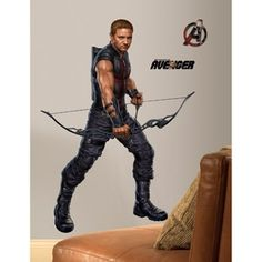 RoomMates Avengers Hawkeye Peel & Stick Giant Wall Decal.  $18  Love the idea of decorating with peel and stick to keep up with their ever changing interest at this age.  (I wonder how many women bought this for their own bedroom though?)