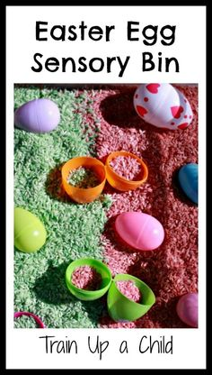 Easter Egg Sensory Bin with colored and scented rice.  Fun for toddlers on up.  Scooping and pouring to increase fine motor skills through play.