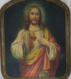 Framed Antique Lithograph Print Sacred Heart of Jesus Gesso Frame